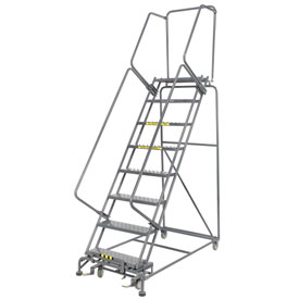 "Perforated 24""W 8 Step Steel Rolling Ladder 21""D Top Step"