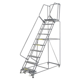 "Perforated 24""W 10 Step Steel Rolling Ladder 21""D Top Step"