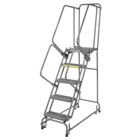 "Grip 16""W 5 Step Steel Rolling Ladder 21""D Top Step"