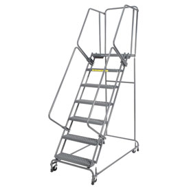 "Grip 24""W 7 Step Steel Rolling Ladder 21""D Top Step- Lock Type A"