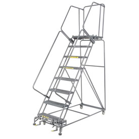 "Grip 24""W 8 Step Steel Rolling Ladder 21""D Top Step"