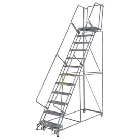 "Grip 24""W 12 Step Steel Rolling Ladder 21""D Top Step"