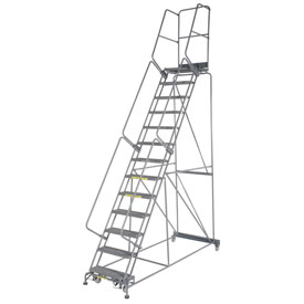 "Grip 24""W 13 Step Steel Rolling Ladder 21""D Top Step"