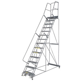 "Grip 24""W 14 Step Steel Rolling Ladder 21""D Top Step"