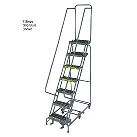 "7 Step 24"" W Perforated All Directional Steel Rolling Ladder- Safety Angle"