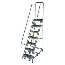 "7 Step 24"" W Grip All Directional Steel Rolling Ladder- Safety Angle"