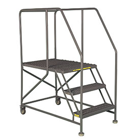"Mobile 3 Step Steel 24""W X 36""L Work Platform Ladder With Handrails"
