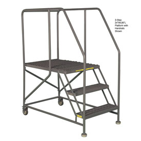 "Mobile 5 Step Steel 36""W X 36""L Work Platform Ladder With Handrails"
