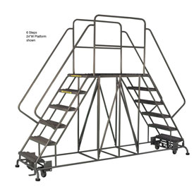 "4 Step Steel Double Entry Mobile Platform - 60""L x 36""W - WLDS143657"