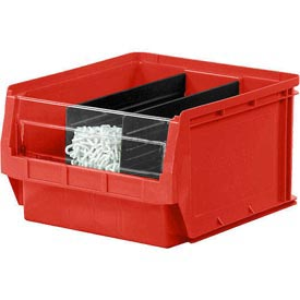 Quantum Magnum Plastic Stackable Storage Bin QMS531 12-3/8 x 19-3/4 x 5-7/8 Red - Pkg Qty 6