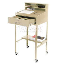"23""W x 20""D Open Leg Mobile Shop Desk - Putty"