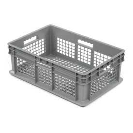 "Akro-Mils Straight Wall Container 37608 Mesh Sides & Base 23-3/4""L x 15-3/4""W x 8-1/4""H, Gray - Pkg Qty 4"