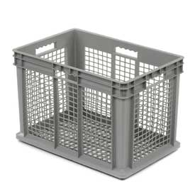 "Akro-Mils Straight Wall Container 37616 Mesh Sides & Base 23-3/4""L x 15-3/4""W x 16-1/8""H, Gray - Pkg Qty 2"