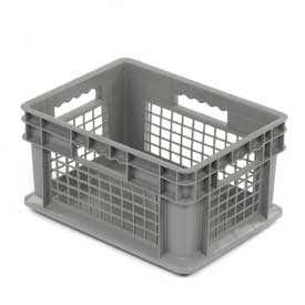 """Akro-Mils Straight Wall Container 37278 Mesh Sides Solid Base 15-3/4""""L x 11-3/4""""W x 8-1/4""""H, Gray - Pkg Qty 12"""