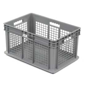 "Akro-Mils Straight Wall Container 37672 Mesh Sides Solid Base 23-3/4""L x 15-3/4""W x 12-1/4""H, Gray - Pkg Qty 3"
