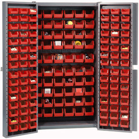 "Bin Cabinet Deep Door with 156 Red Bins, 16-Gauge Assembled Cabinet 38""W x 24""D x 72""H, Gray"