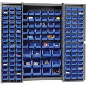 "Bin Cabinet Deep Door with 144 Blue Bins, 16-Gauge Assembled Cabinet 38""W x 24""D x 72""H, Gray"