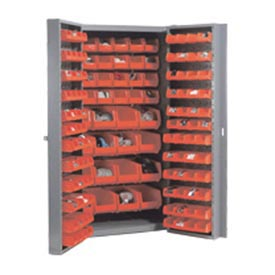 "Bin Cabinet Deep Door with 132 Red Bins, 16-Gauge Unassembled Cabinet 38""W x 24""D x 72""H, Gray"