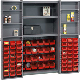 "Bin Cabinet Deep Door with 72 Red Bins, Shelves, 16-Gauge Assembled Cabinet 38""W x 24""D x 72""H, Gray"