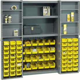 "Bin Cabinet Deep Door with 72 Yellow Bins, Shelves, 16-Ga Assembled Cabinet 38""W x 24""D x 72""H, Gray"