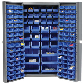 "Bin Cabinet Deep Door with 132 Blue Bins, 16-Gauge Assembled Cabinet 38""W x 24""D x 72""H, Gray"