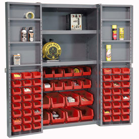 "Bin Cabinet Deep Door with 68 Red Bins, Shelves, 16-Ga. Unassembled Cabinet 38""W x 24""D x 72""H Gray"
