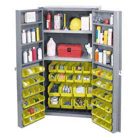 "Bin Cabinet Deep Door w/ 68 Yellow Bins, Shelves, 16-Ga Unassembled Cabinet 38""W x 24""D x 72""H Gray"