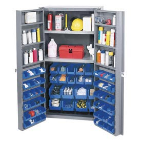 "Bin Cabinet Deep Door with 64 Blue Bins, Shelves, 16-Ga. Unassembled Cabinet 38""W x 24""D x 72""H Gray"