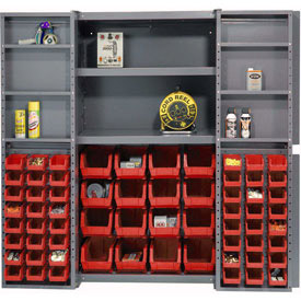 "Bin Cabinet Deep Door with  64 Red Bins, Shelves, 16-Ga. Unassembled Cabinet 38""W x 24""D x 72""H Gray"