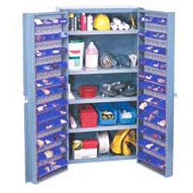 "Bin Cabinet Deep Door w/ 96 Blue Bins, Shelves, 16-Ga. Unassembled Cabinet 38""W x 24""D x 72""H, Gray"