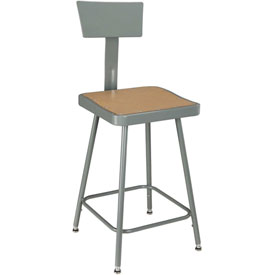 "Shop Stool with Backrest - Steel - Adjustable Height 24"" - 33"" - Gray - Pkg Qty 2"