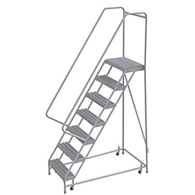 "7 Step Aluminum Rolling Ladder, 16""W Grip Step, 30"" Handrails"