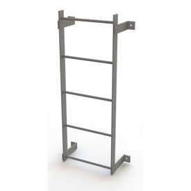 5 Step Steel Standard Uncaged Fixed Access Ladder, Gray - WLFS0105