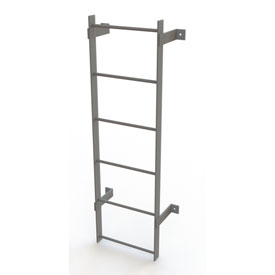 6 Step Steel Standard Uncaged Fixed Access Ladder, Gray - WLFS0106