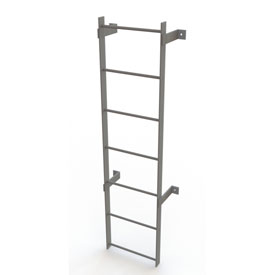 7 Step Steel  Standard Uncaged Fixed Access Ladder, Gray - WLFS0107