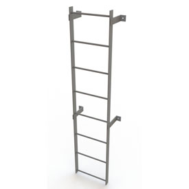 8 Step Steel Standard Uncaged Fixed Access Ladder, Gray - WLFS0108