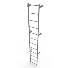 12 Step Steel Standard Uncaged Fixed Access Ladder, Gray - WLFS0112