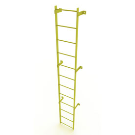 12 Step Steel Standard Uncaged Fixed Access Ladder, Yellow - WLFS0112-Y