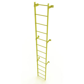 13 Step Steel Standard Uncaged Fixed Access Ladder, Yellow - WLFS0113-Y