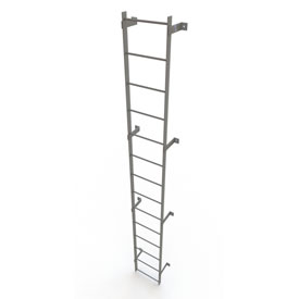 14 Step Steel Standard Uncaged Fixed Access Ladder, Gray - WLFS0114