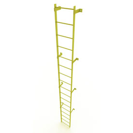 17 Step Steel Standard Uncaged Fixed Access Ladder, Yellow - WLFS0117-Y