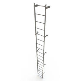 19 Step Steel Standard Uncaged Fixed Access Ladder, Gray - WLFS0119