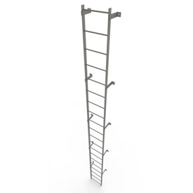 20 Step Steel Standard Uncaged Fixed Access Ladder, Gray - WLFS0120