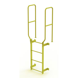 4 Step Steel Walk Through With Handrails Fixed Access Ladder, Yellow - WLFS0204-Y