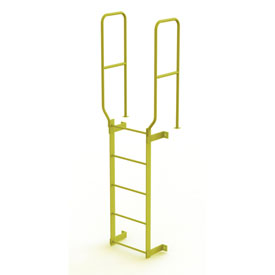 5 Step Steel Walk Through With Handrails Fixed Access Ladder, Yellow - WLFS0205-Y