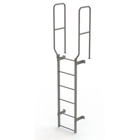 6 Step Steel Walk Through With Handrails Fixed Access Ladder, Gray - WLFS0206