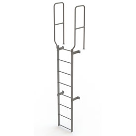 8 Step Steel Walk Through With Handrails Fixed Access Ladder, Gray - WLFS0208