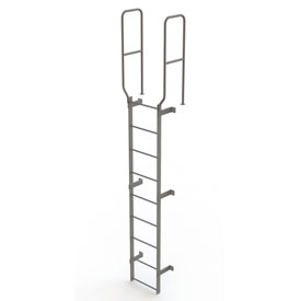 9 Step Steel Walk Through With Handrails Fixed Access Ladder, Gray - WLFS0209