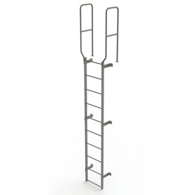 10 Step Steel Walk Through With Handrails Fixed Access Ladder, Gray - WLFS0210