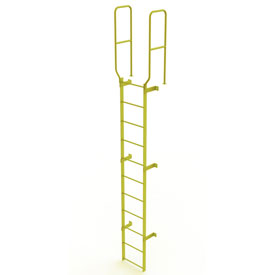 11 Step Steel Walk Through With Handrails Fixed Access Ladder, Yellow - WLFS0211-Y